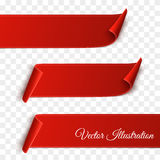 Set of red curved paper blank banners isolated on transparent background. Vector Stock Images
