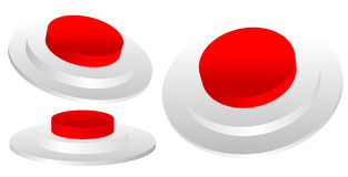 Set of red 3D emergency, termination, stop button of industrial Royalty Free Stock Photography