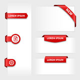 Set of red 3d stickers tabs Royalty Free Stock Image