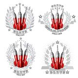 Set with red darts in center of silver wreath. Sport logo for any darts game or championship. On white royalty free illustration