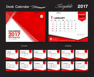 Set Red Desk Calendar 2017 vector template, cover template Royalty Free Stock Image