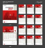 Set Red Desk Calendar 2017 year size  6 x 8 inch template Royalty Free Stock Photography