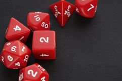 Set of red dices for board, tabletop or rpg games stock images