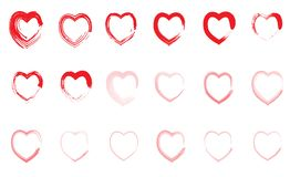 Set of red different hearts eighteen pieces on white background stock illustration