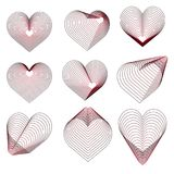 Set of red different hearts for Valentine`s day. Vector.  Royalty Free Stock Image