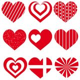 Set of red different hearts for Valentine`s day. Vector.  Stock Photo