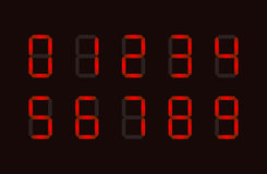 Set of red digital number signs made up from seven segments Royalty Free Stock Photo