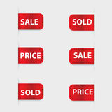 Set of red discount labels Stock Image