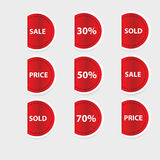 Set of red discount labels. Royalty Free Stock Photo