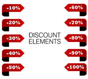 Set red discount percent elements Royalty Free Stock Photo