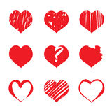 Set of red  drawing hearts Stock Photo