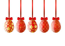Set of red Easter eggs Royalty Free Stock Photos