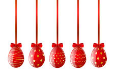 Set of red Easter eggs with ribbon Stock Images