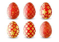 Set of red Easter eggs Stock Photos