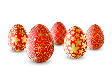 Set of red Easter eggs Stock Images