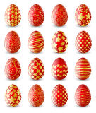 Set of red Easter eggs Royalty Free Stock Images