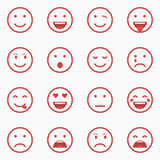Set of red Emoticons, Emoji and Avatar. Outline style isolated vector illustration on white background. Royalty Free Stock Image