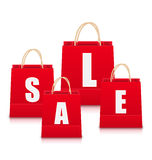 Set of Red Empty Shopping Bags Isolated Stock Photos