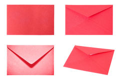 Set with 4 red envelopes Royalty Free Stock Photography