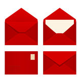 Set of red envelopes. Vector illustration. Royalty Free Stock Images