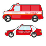 Set of red fire department car to help. Fire truck bus and emergency rescue vehicle - side view. Vector illustration isolated on white background. Flat icons Royalty Free Stock Photo