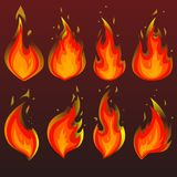 Set of red fire icons. Flames. Vector illustration. Set of red fire icons. Flat  illustration. Collection of red with orange flames on brown gradient background Royalty Free Stock Photography