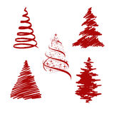 Set red firs Royalty Free Stock Image