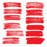 Set of red flat brush strokes Stock Images