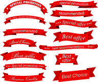 Set of red flat ribbons Stock Photos