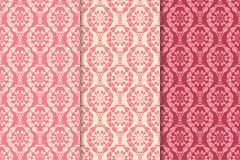 Set of red floral ornaments. Cherry pink vertical seamless patterns. Wallpaper backgrounds Royalty Free Stock Photo