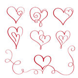 Set of red flourish calligraphy vintage hearts. Illustration vector hand drawn EPS 10 Royalty Free Stock Image