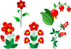 Set of red flowers Stock Images