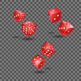 Set of red flying die on transparent background. Set of red flying die on the transparent background. Usable for Casino and gamble related print and web media stock illustration