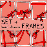 Set of red frames with bows Royalty Free Stock Photos