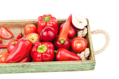Set of red fresh raw vegetables and fruits Stock Photos