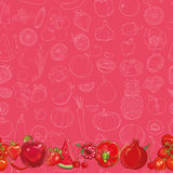Set of red fruits and vegetables on light red background Stock Photography