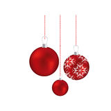 Set red garlands christmas holding with snowflakes ornaments Royalty Free Stock Image