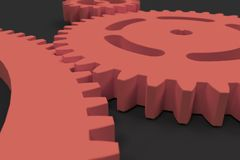 Set of red gears and cogs on black background. Mechanical background. 3D rendering illustration Stock Image