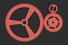 Set of red gears and cogs on black background. Mechanical background. 3D rendering illustration Stock Photo