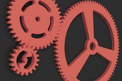 Set of red gears and cogs on black background. Mechanical background. 3D rendering illustration Royalty Free Stock Images