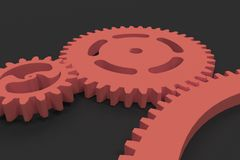 Set of red gears and cogs on black background. Mechanical background. 3D rendering illustration Royalty Free Stock Photography