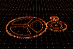 Set of red gears and cogs on virtual screen. Technological background. 3D rendering illustration Royalty Free Stock Image