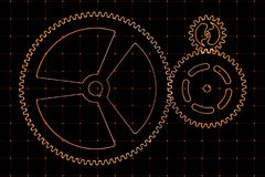 Set of red gears and cogs on virtual screen. Technological background. 3D rendering illustration Stock Photos