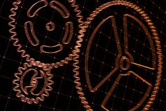 Set of red gears and cogs on virtual screen. Technological background. 3D rendering illustration Stock Photo