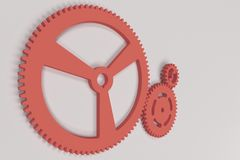 Set of red gears and cogs on white background. Mechanical background. 3D rendering illustration Royalty Free Stock Photos