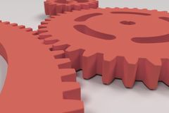 Set of red gears and cogs on white background. Mechanical background. 3D rendering illustration Royalty Free Stock Image