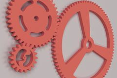 Set of red gears and cogs on white background. Mechanical background. 3D rendering illustration Stock Image