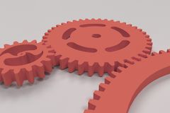Set of red gears and cogs on white background. Mechanical background. 3D rendering illustration Stock Photo