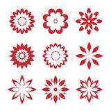 Set of red geometric flowers. Vector Illustration. And icons stock illustration