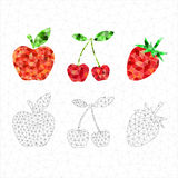 Set of red geometric fruits. Apple, cherry, strawberry Stock Photos